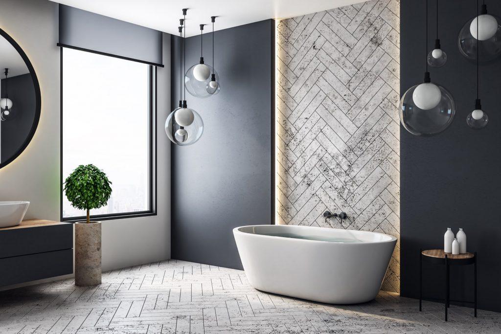 luxury bathroom installation cornwall dark walls